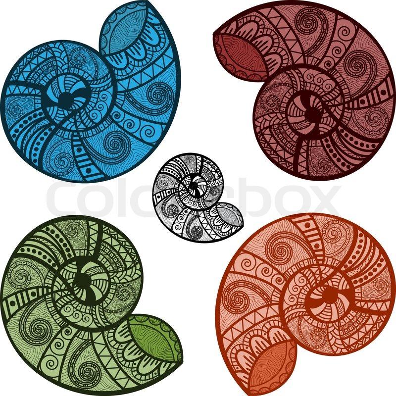 Fünf hellen Vektor Schneckenhäuser mit ethnischen Mustern.