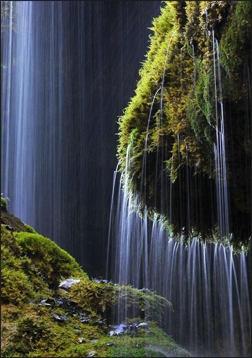 Schleierfall waterfall in Wilder Kaiser range, Austria ..
