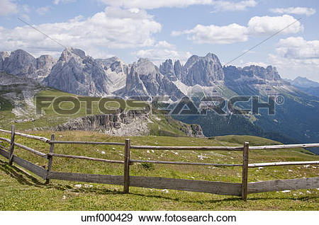 Stock Photograph of Italy, View from Schlern to Rosengarten at.