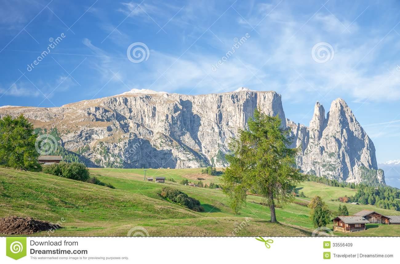 Schlern Mountain,Seiser Alm,south Tyrol,Italy Royalty Free Stock.
