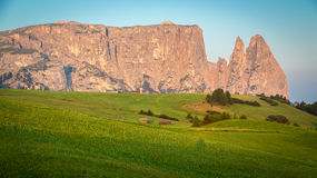 Seiser Alm And Schlern,South Tyrol,Italy Stock Photo.