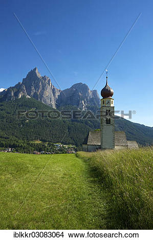 """Stock Photo of """"Church of St. Valentin, Seis am Schlern, South."""