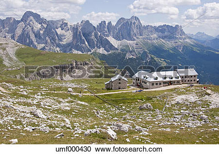 Stock Photography of Italy, View from Schlern to Schlernhaus and.