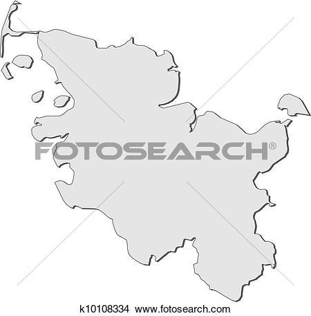 Clipart of Map of Schleswig.