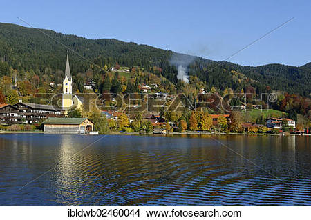 """Stock Photo of """"The town of Schliersee with the Church of St."""