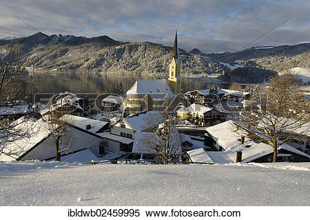 """Stock Image of """"Lake Schliersee with the Church of St. Sixtus in."""