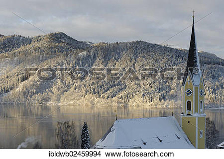 """Stock Photo of """"Lake Schliersee with the Church of St. Sixtus in."""