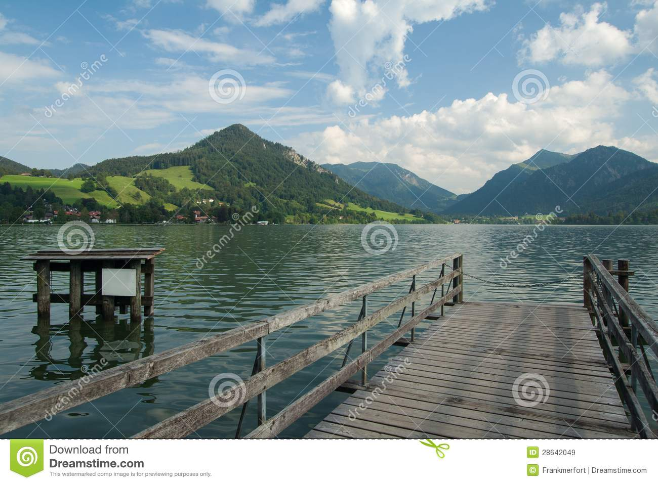 Boardwalk At Lake Schliersee Royalty Free Stock Images.