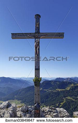 "Picture of ""Summit cross of Mt Brecherspitz, Schliersee mountains."