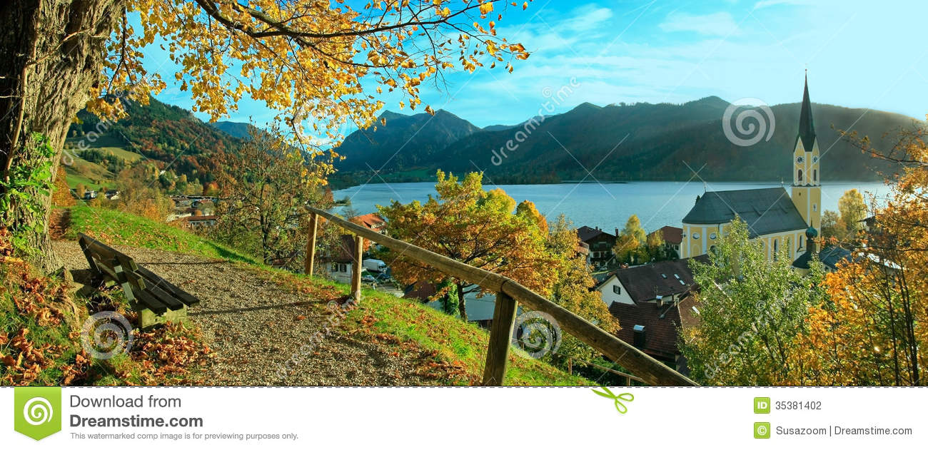 Beautiful Panoramic View To Schliersee Village In Autumn Stock.