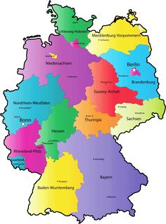 Flag map of Germany (separation).