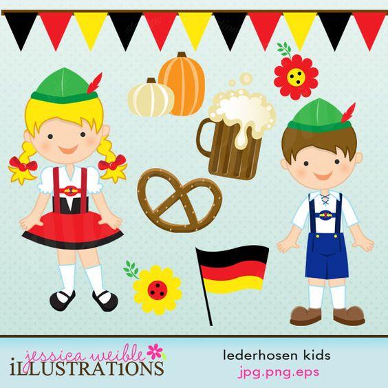 Lederhosen Kids Cute Digital Clipart, Oktoberfest Kids.
