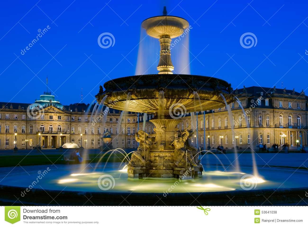 Schlossplatz Fountain In Stuttgart, Germany Stock Photo.
