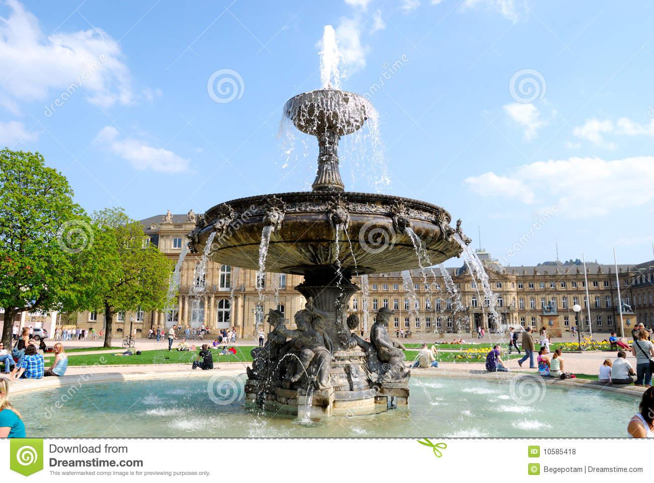 Fountain On Schlossplatz In Stuttgart Royalty Free Stock Photos.