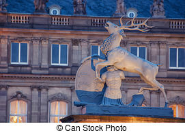 Stock Photo of Golden deer on dome of Palace of Arts in Stuttgart.