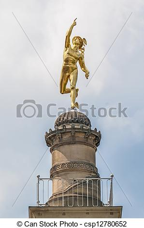 Stock Images of Mercury statue at Schlossplatz, Germany.