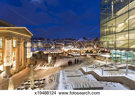 Stock Photo of Christmas Market at Schlossplatz Square, Stuttgart.