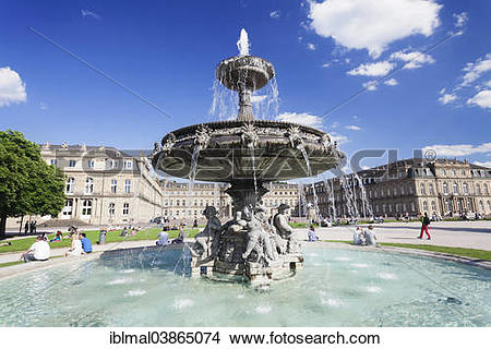 """Stock Photo of """"Neues Schloss or New Palace, with fountain on."""