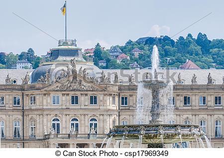 Stock Photo of New Palace at Schlossplatz in Stuttgart, Germany.