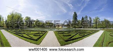Stock Image of Austria, Salzburg, View of Schloss Hellbrunn palace.