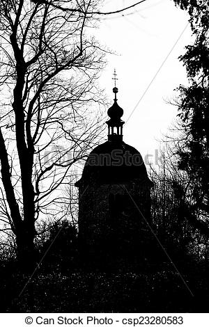 Pictures of Silhouette view of Glockenturm tower on Schlossberg.
