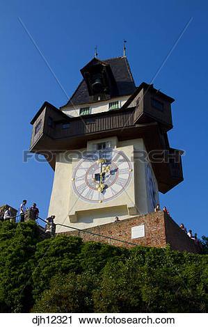 Stock Photography of Austria, Styria, Graz, Schlossberg, Uhrturm.