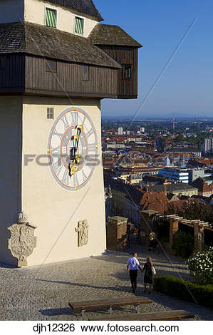 Stock Images of Austria, Styria, Graz, Schlossberg, Uhrturm Tower.