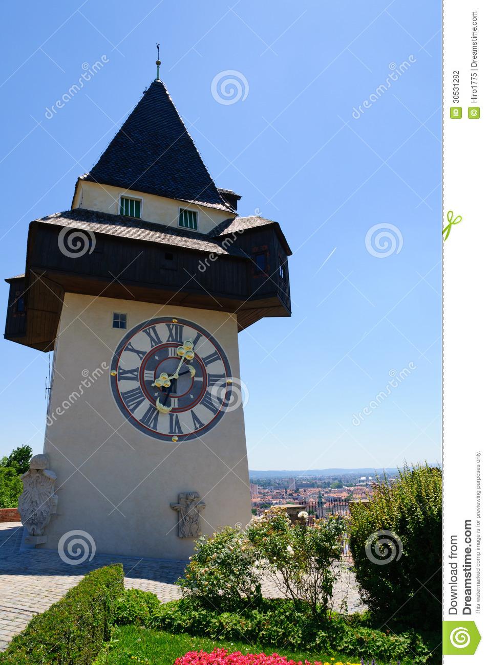 Clock Tower (Uhrturm) In Schlossberg, Graz, Austria Stock.