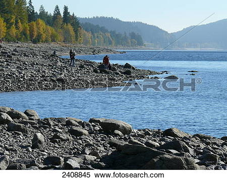 Stock Image of Tourists at lakeside, Schluchsee, Germany 2408845.