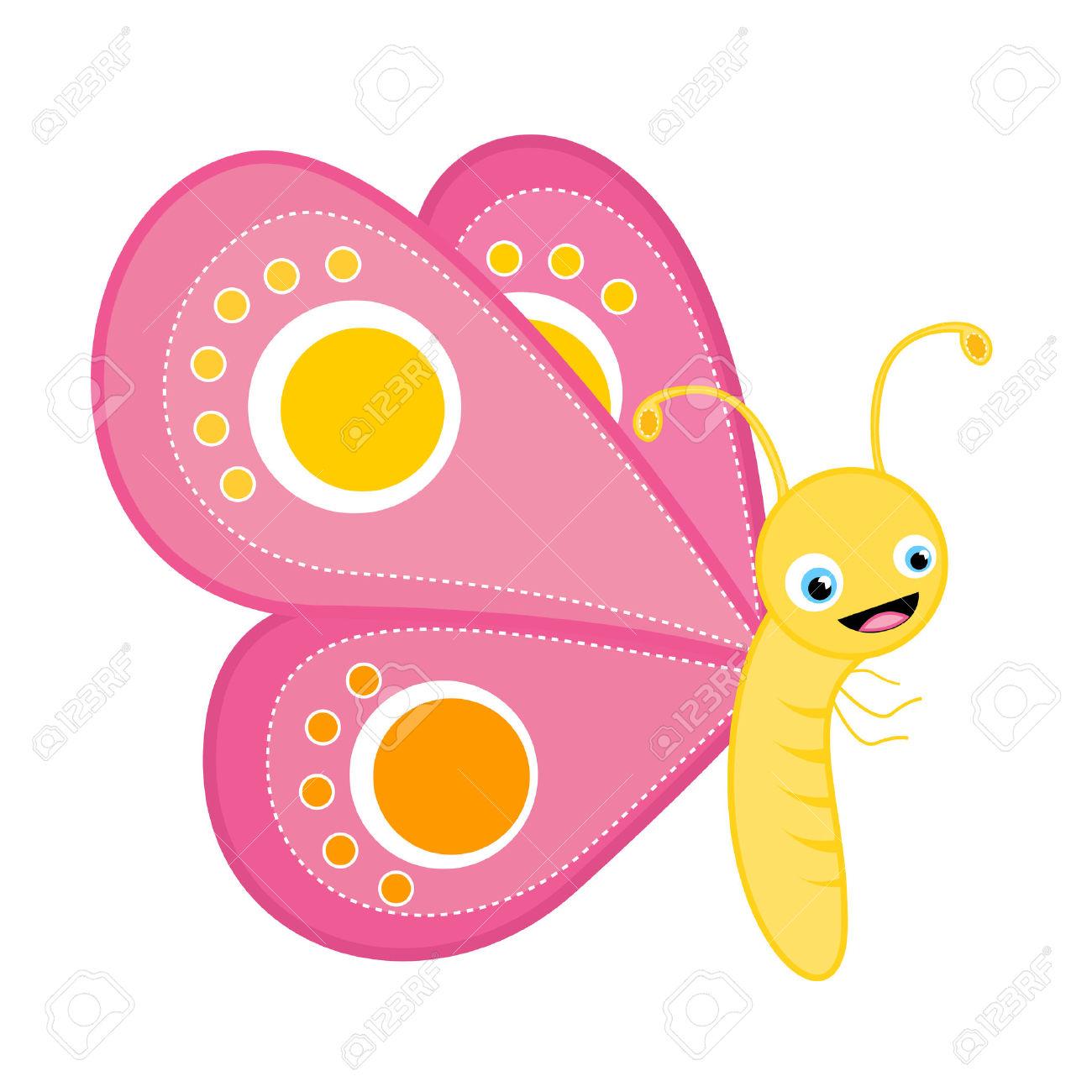 Cute Schmetterling Clip Art Isoliert Auf Weißem Hintergrund.