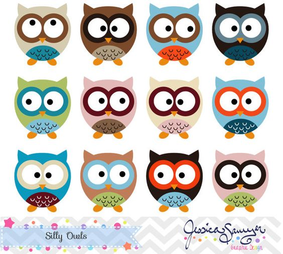 Silly Owl Clipart, owl clip art, for commercial use, personal use.