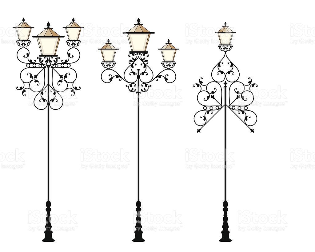 Schmiedeeisen Street Lampe Vektor Illustration 96688224.