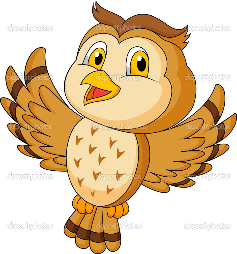 Süße Eule Cartoon fliegen — Stockvektor © tigatelu #23938907.