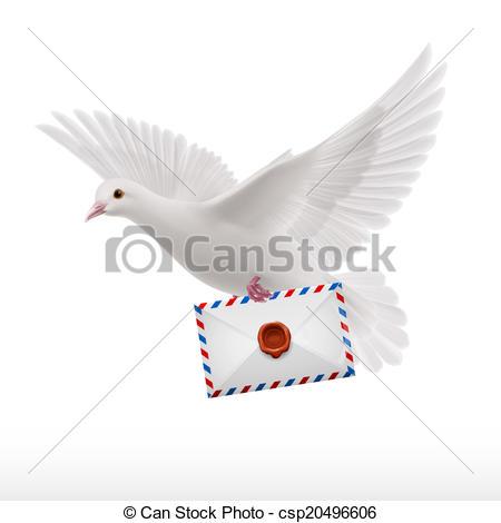 Vektor Clipart von weißes, Taube, fliegen, mit, Brief, in.