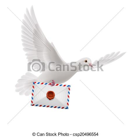 Clipart Vektor von weißes, Taube.