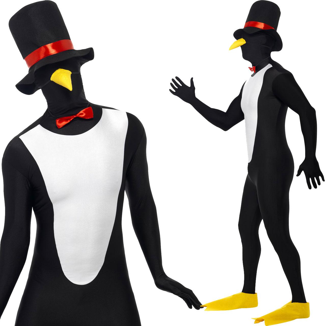 Herren Ganzkörperanzug Second Skin Pinguin Hut Schnabel Fliege Gr.