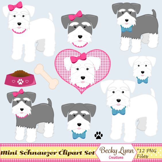 Miniature Schnauzer Dog Clip Art Set.
