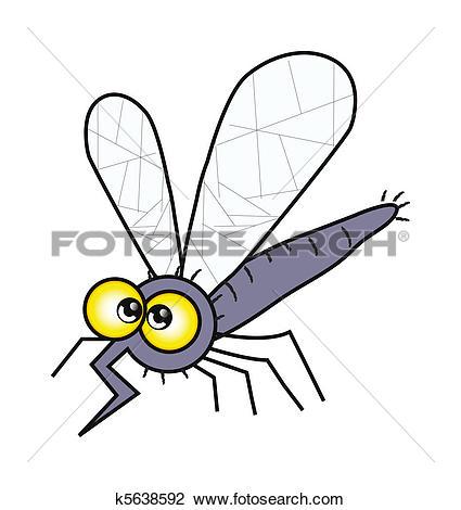 Clip Art of cartoon mosquito isolation over white k5638592.