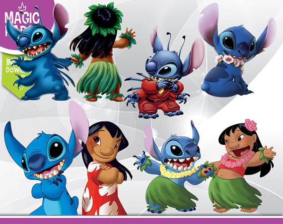 Lilo & Stich Clipart Disney Digital 300 DPI PNG by MagicPaperShop.