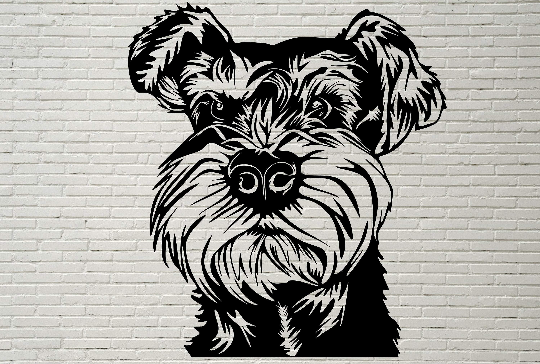 Miniature Schnauzer SVG, Silhouettes dxf, Dog SVG Files for Cricut,  Schnauzer clipart, Dog Cut file, animal svg, Printable, vector dog vinyl.