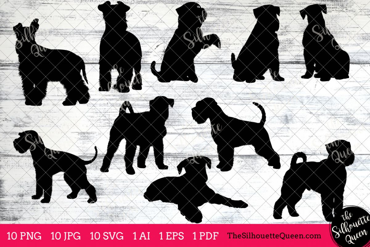Miniature Schnauzer Dog Silhouette Clipart Clip Art (AI, EPS, SVGs, JPGs,  PNGs, PDF) , Clipart Vectors.