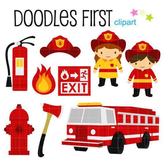 Petits pompiers avec Clip Art pour fabrication de carte.