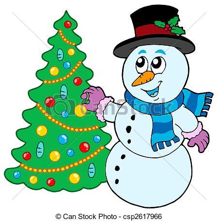 Stock Illustration of Snowman decorating Christmas tree.