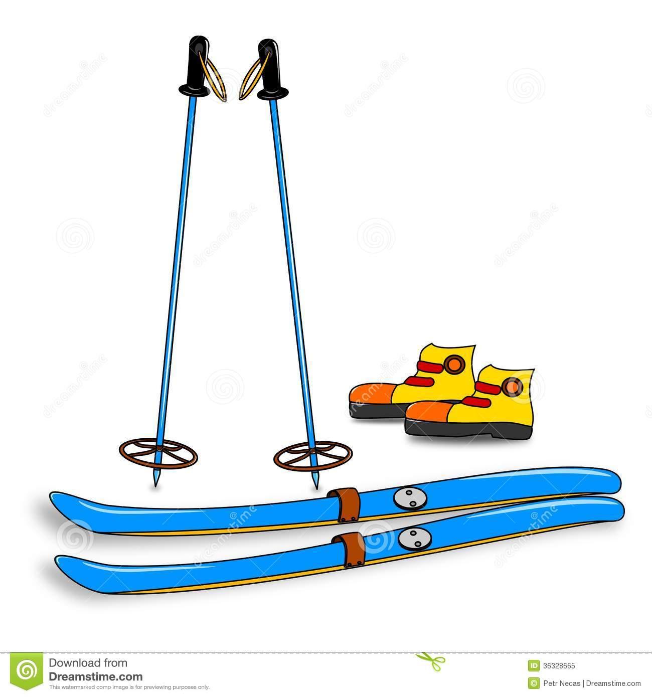 Ski tour equipment clipart