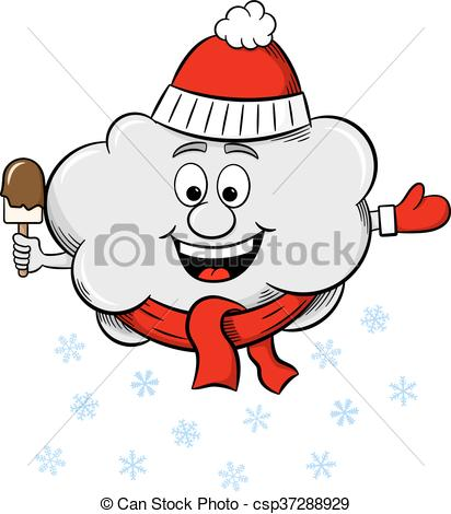 Vektor Illustration von schal, Hut, Schnee, Wolke.