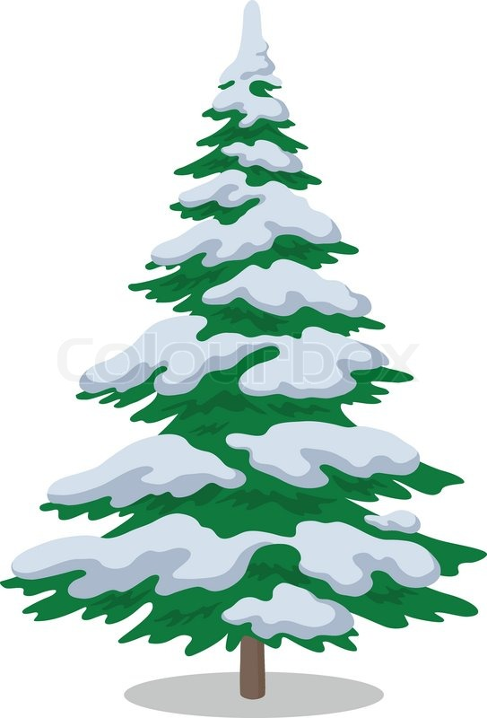 Weihnachtsbaum mit Schnee.