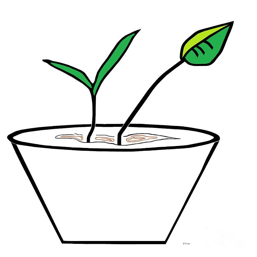 Minimalist Pot Plant Painting by Eloise Schneider.