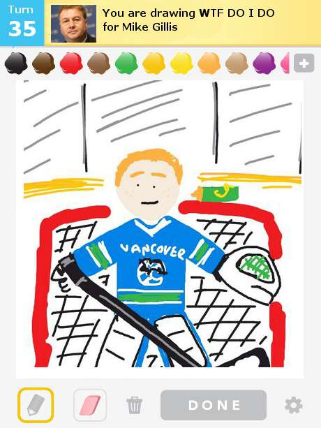 Vancouver Canucks players caught playing Draw Something during.
