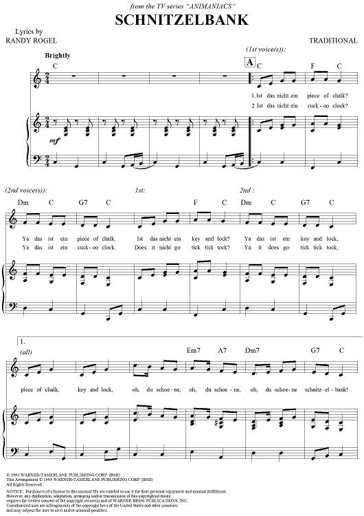 Schnitzelbank Sheet Music.