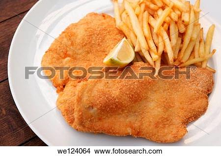 Stock Photo of schnitzel, breaded fried meat cutlet of poultry.